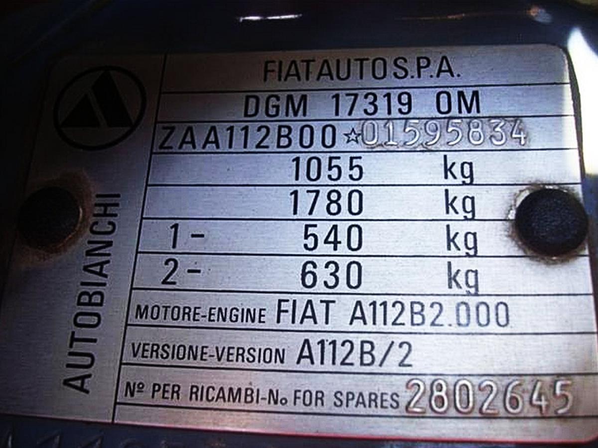 Foto di una autobianchi a112 unificata radiografata for Una planimetria della cabina del telaio
